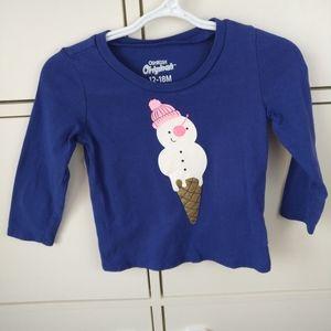 4/$20 Toddler girl OshKosh snowman shirt 18 months